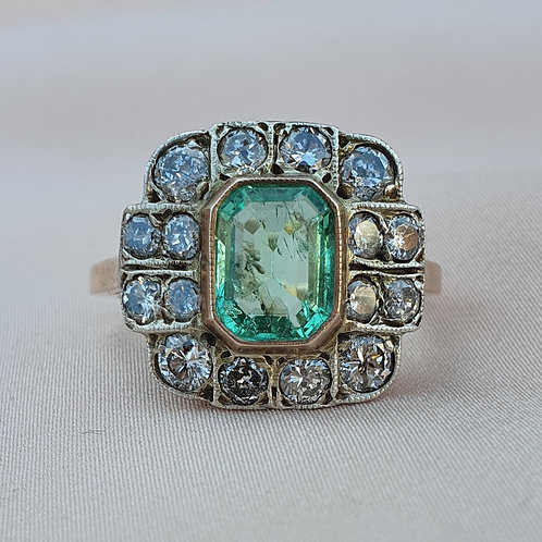 Art Deco 1.50 Emerald & 1.00 Diamond Ring