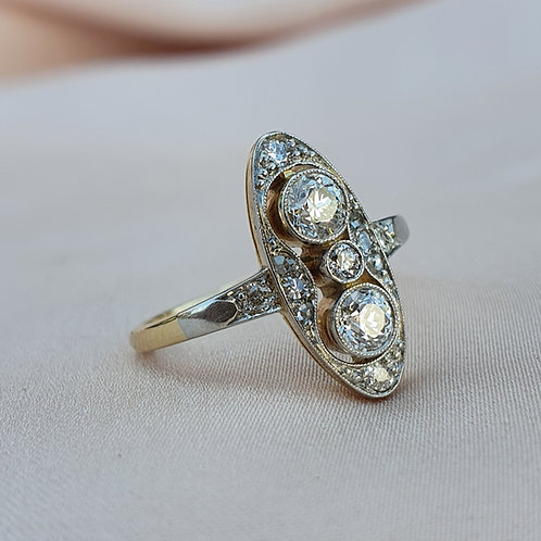 Early Art Deco 0.60 Two Stone Diamond Ring