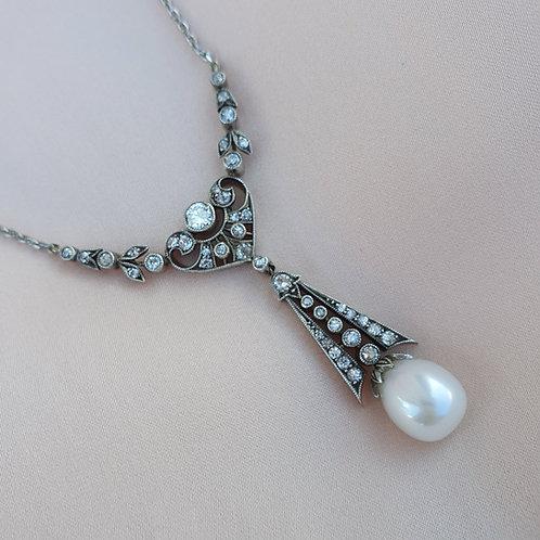 1910s Edwardian Pearl & Diamond Necklace