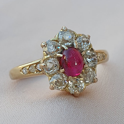 Victorian Ruby 0.72 Diamond Gold Ring