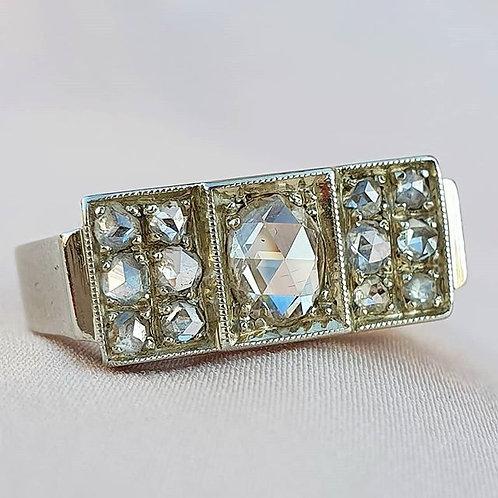 Art Deco Rose Cut Diamond Cluster Ring