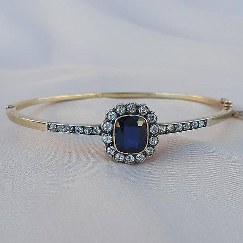 Edwardian 2.87 Sapphire & 0.95 Diamond Bangle