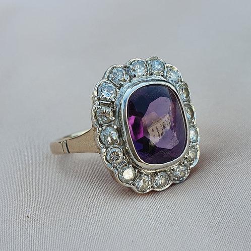 Art Deco Amethyst Diamond Halo Ring