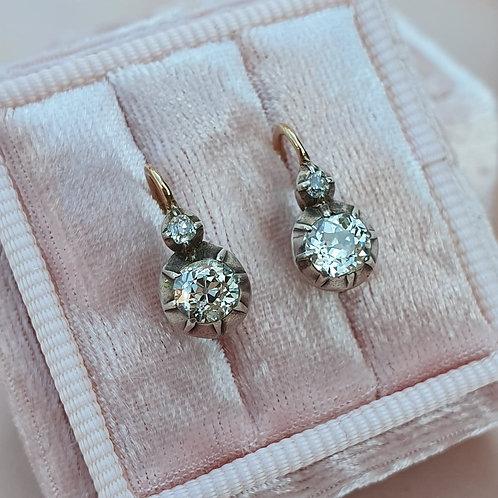 Victorian ca 1.00 Diamond Earrings