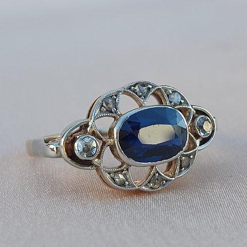 Early Art Deco Sapphire & Diamond Ring
