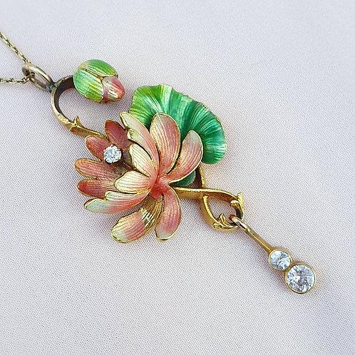 Art Nouveau Enamel Diamond Pendant