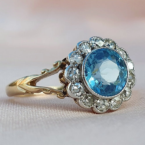 Art Deco Topaz and Diamond Daisy Ring
