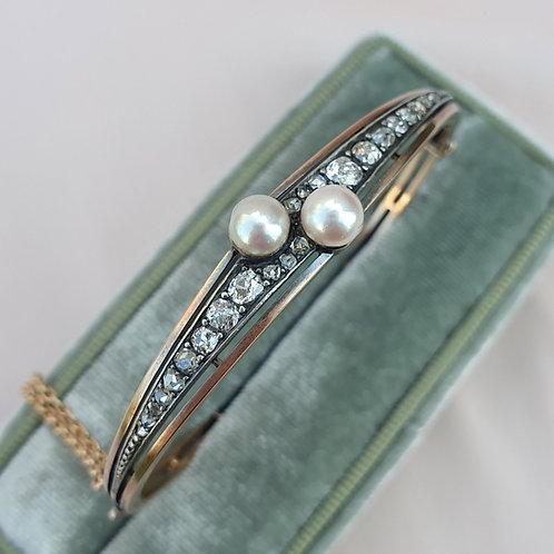 Antique Pearl & Diamond Bangle | 1900 Diamond Bracelet