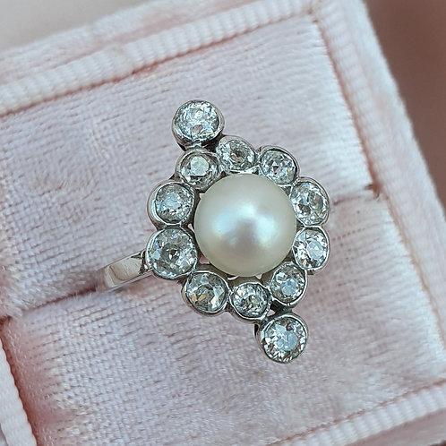 Early XXc Platinum Pearl & Diamond Ring