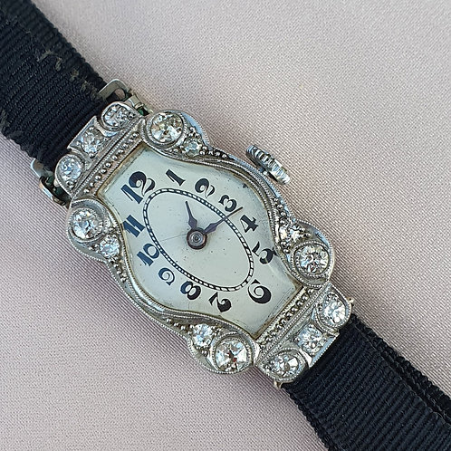 Early XXc Platinum & Gold Diamond Ladies Watch