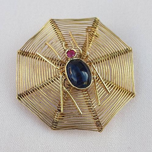 Antique Sapphire Gold Spider Brooch