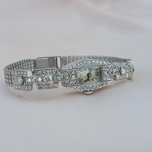 Art Deco Platinum Gold 1.74 Diamond Watch
