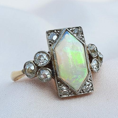 Avantgarde 1920s Art Deco Opal and Diamond Ring