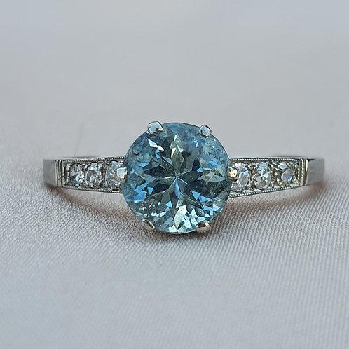 Platinum Topaz & Diamond Engagement Ring