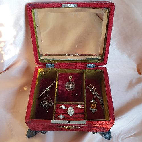 Antique Velvet Jewellery Trincket