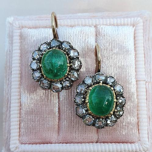 Victorian Emerald & Rose Cut Diamond Earrings