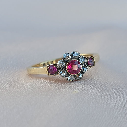 Late Victorian Natural Ruby and Diamond Gold Ring