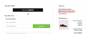 Schuh's checkout downplaying coupon code area
