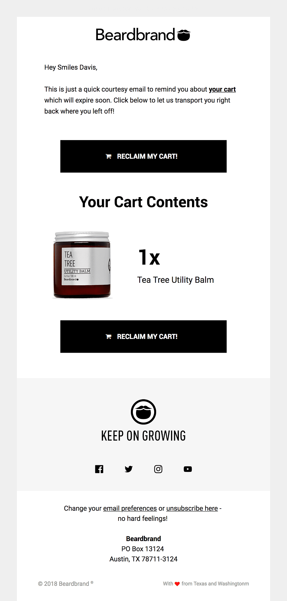 Abandoned cart email