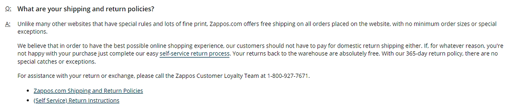 Zappos' return policy includes free return shipping