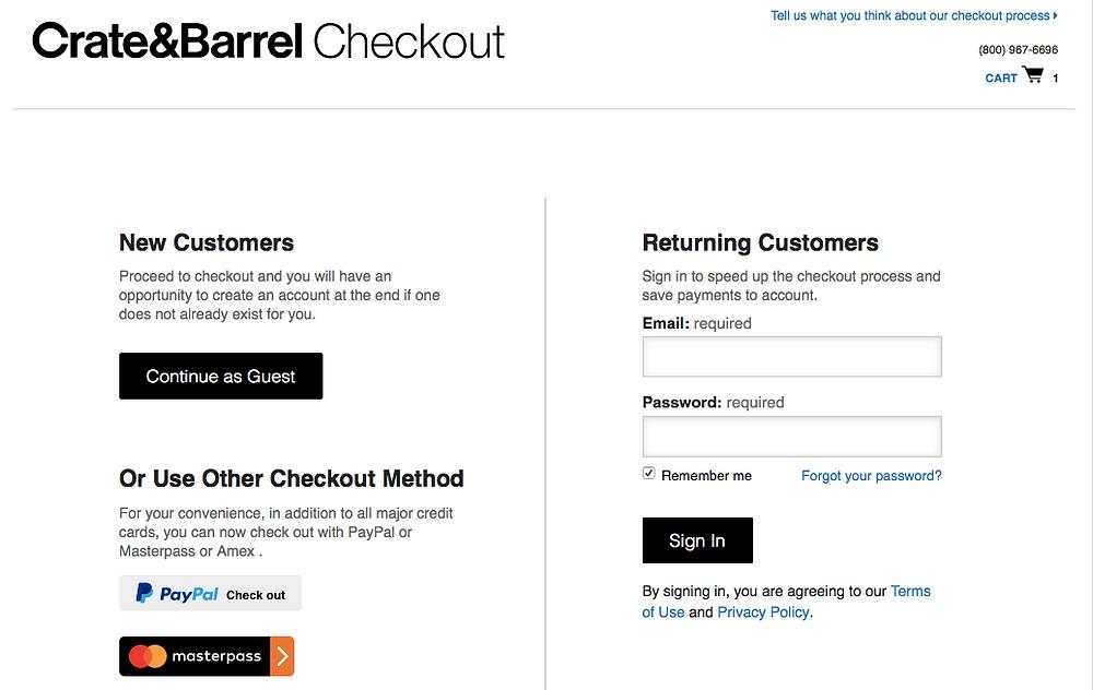 Crate & Barrel guest checkout