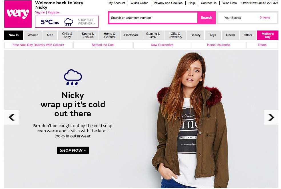Very.co.uk personalized homepage