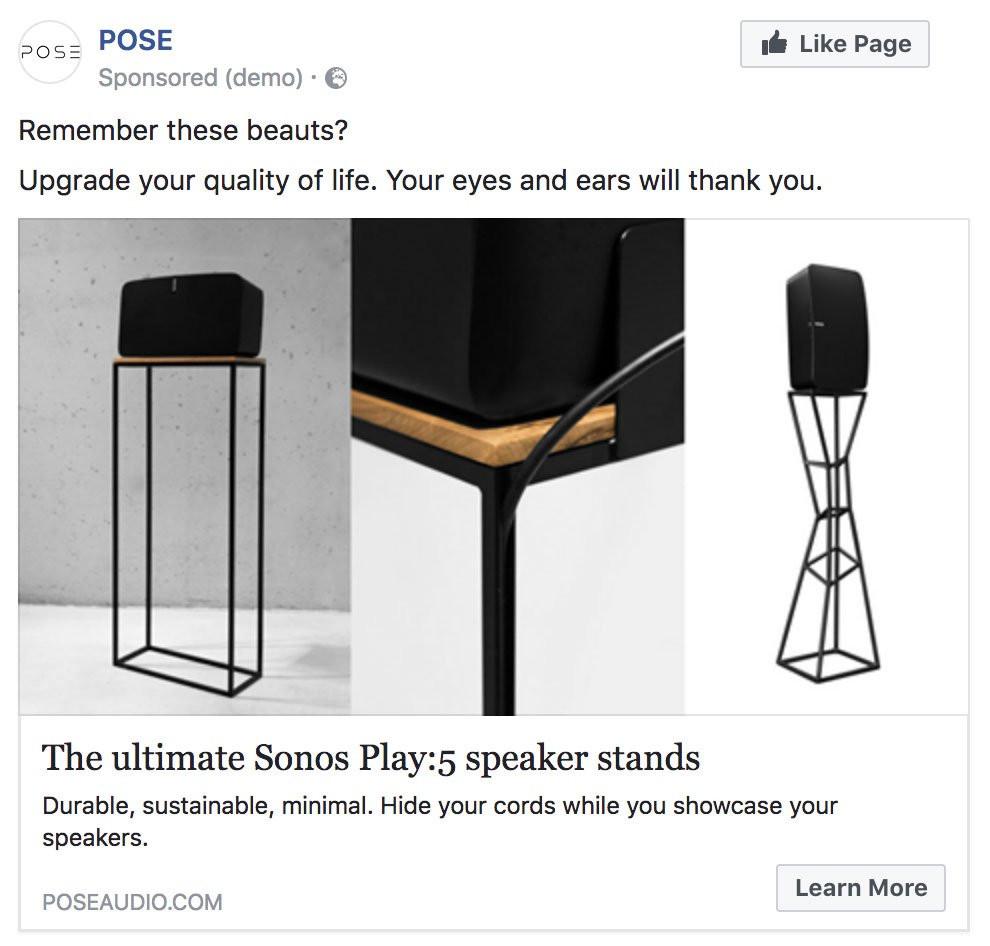 Pose Retargeting Ad on Facebook