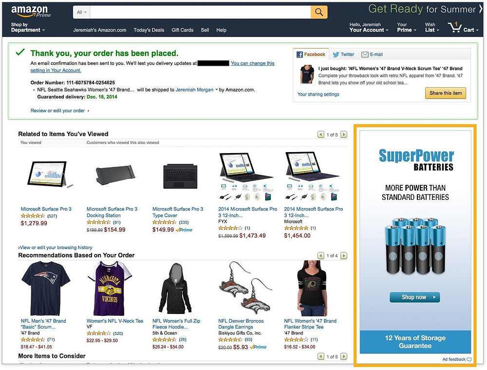 Amazon thank you page cross-sell