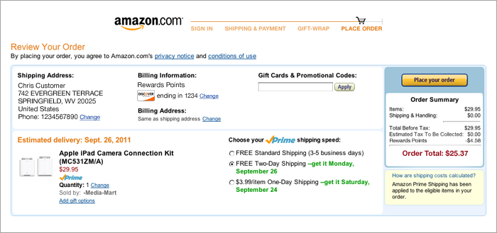 Amazon's distraction-free checkout