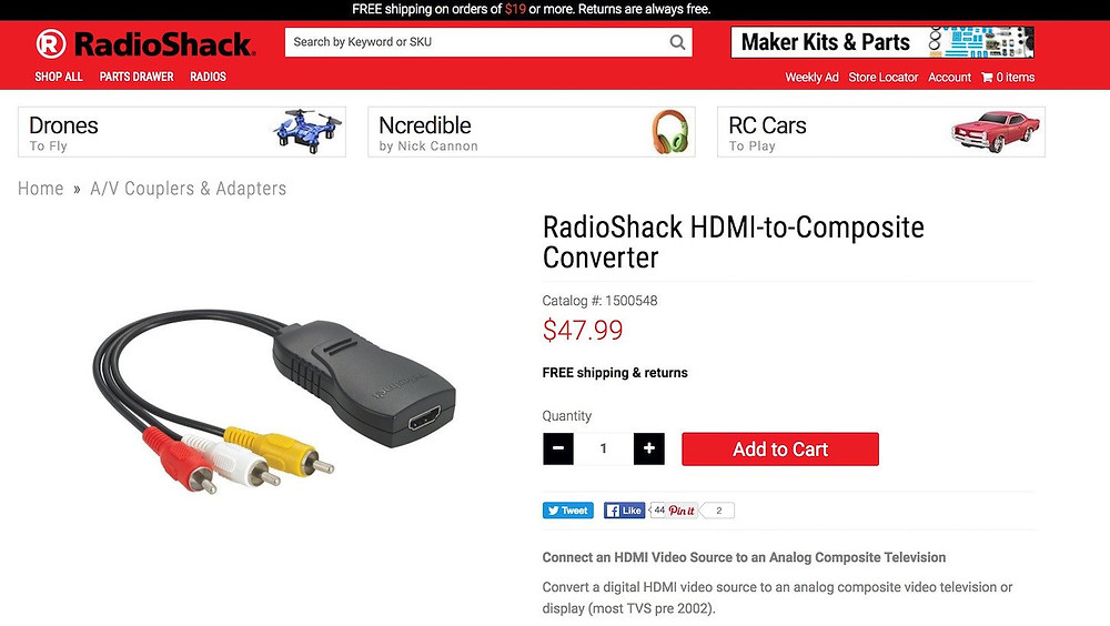 RadioShack displays social shares on its product pages
