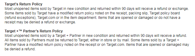 Target's return policy