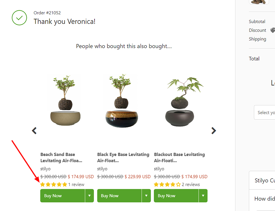 Product reviews on thank you page