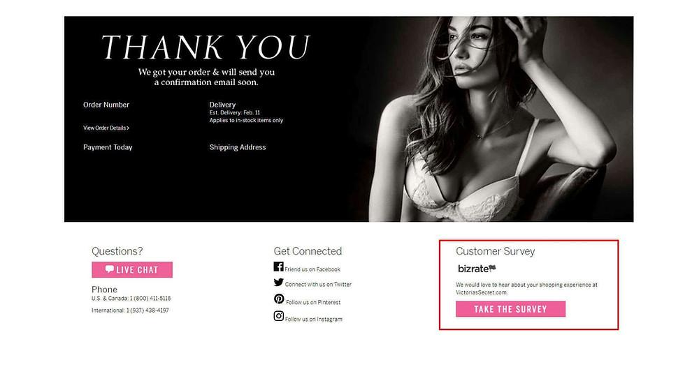 Victoria's Secret thank you page