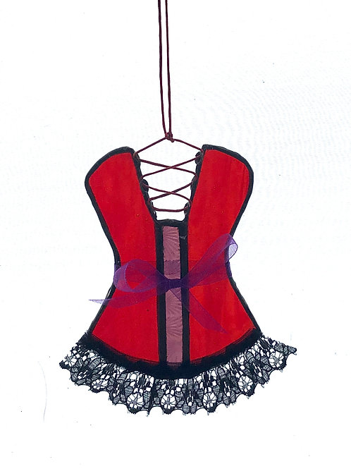 Stained glass red and purple corset with lace trim