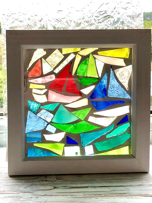 Mosaic of 4 sailboats in a wooden box frame