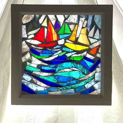 Mosaic of 3 sailboats in a wooden box frame