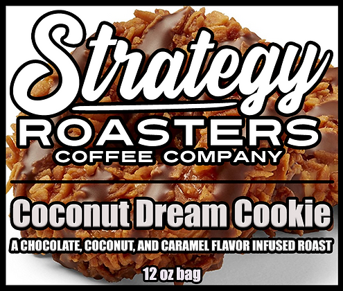 Coconut Dream Cookie, a Coconut, Caramel, and Chocolate flavor infused roast