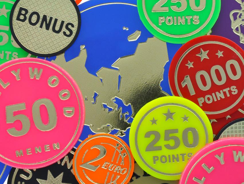 Round fairground tokens