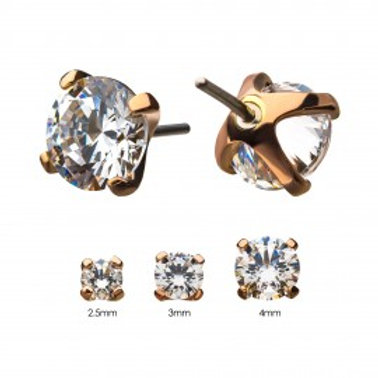 14Kt Gold Threadless Prong Set Clear CZ Top
