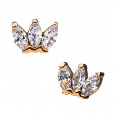 14Kt Gold Threadless Triple Marquise Gem Cluster Top