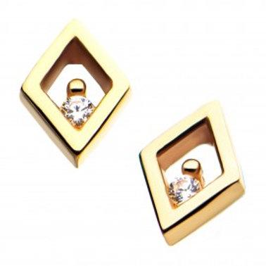 14ktGold Threadless Diamond Clear CZ Top