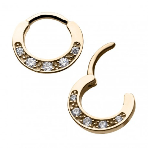 14Kt Gold Prong Set 5-Clear Gem Hinged Segment Ring
