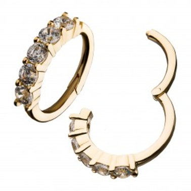 14Kt Gold Prong Set 5-Clear CZ Gems Top Hinged Segment Ring.