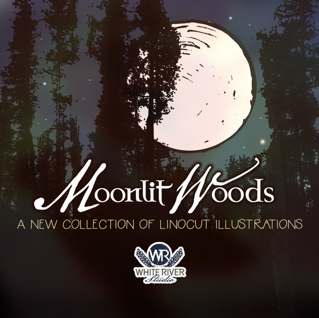 Moonlit Woods. Linocut illustration collection available for sale in the White River Studio shop on Creativemarket.com.
