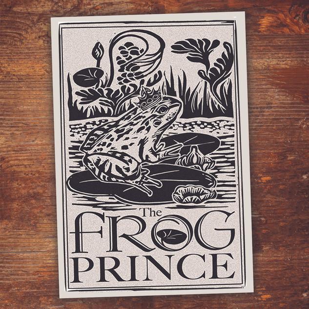 Frog Prince. 8x10 Linocut art print.