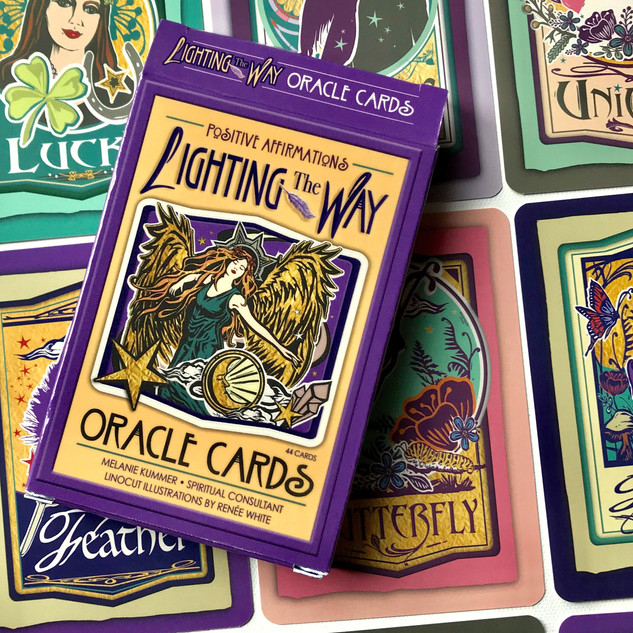 Lighting The Way Oracle Cards. An amazing opportunity for me to combine my linocut Illustrations and graphic design. Oracle cards, illustrations and packaging by White River Studio.