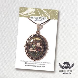 "Wearable art. Handmade pendant featuring my ""Lily"" linocut illustration."