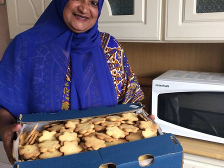 Janap bakes lavender biscuits for a corporate gift