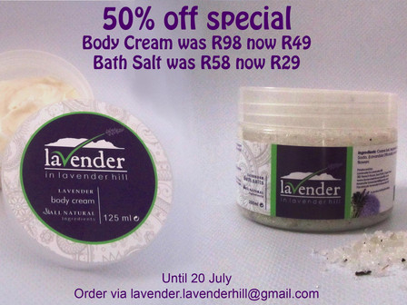 50% off Body Cream and Bath Salt
