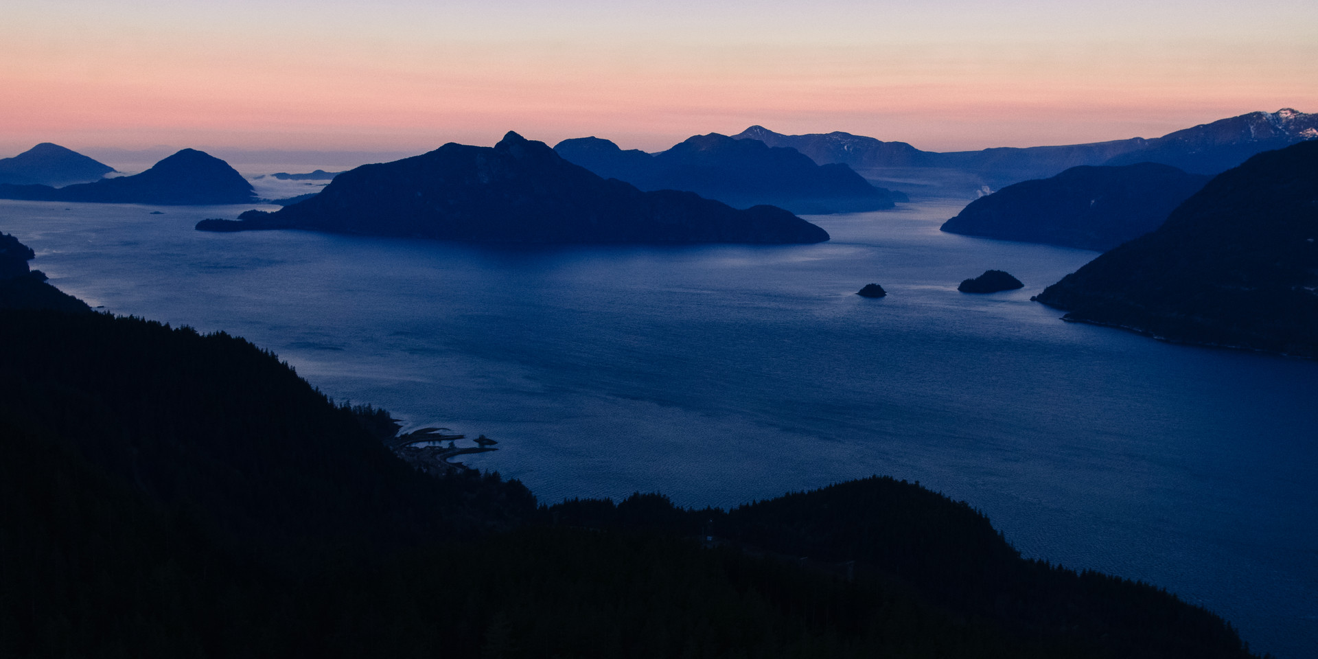 Early morning Howe Sound from the air